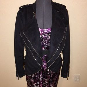 Buffalo Suede Moto Style Jacket Small Edgy Zip WOW